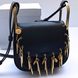 Chloe Black Leather Charm Crossbody / Shoulder Bag